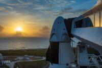 SpaceX Crew Dragon capsule at sunrise