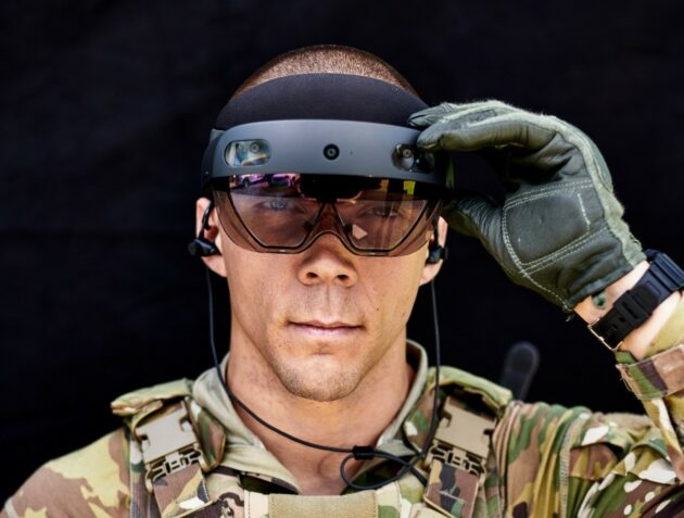 Soldier with AR headset