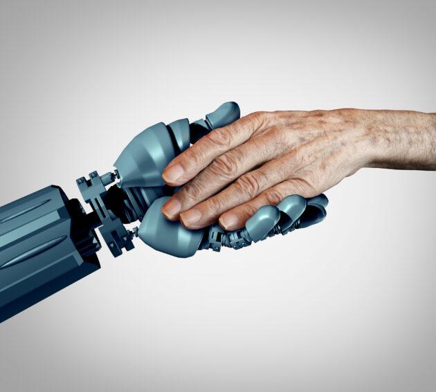 Ilustración: Robot y manos humanas