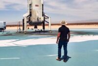 Jeff Bezos at the New Shepard landing site