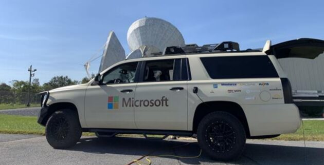 Microsoft vehicle with ground station