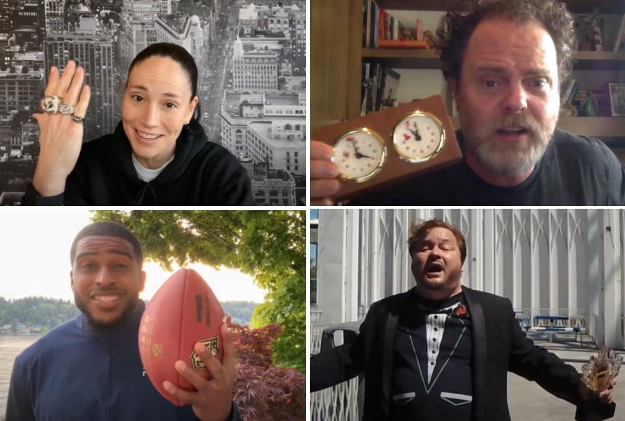 Videos: Sue Bird, Rainn Wilson, Bobby Wagner, and The Drunken Tenor make surprise appearances at the 2021 GeekWire Awards