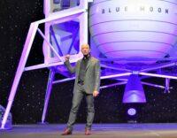 Jeff Bezos with Blue Moon lunar lander