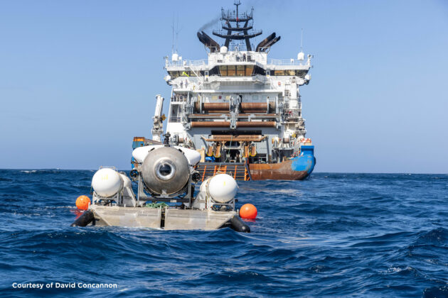 Titan and its support vessel at sea