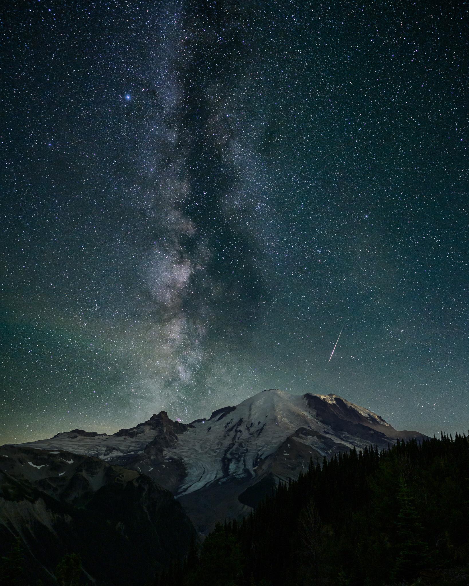 Milky Way and Perseids meteor over Mt. Rainier