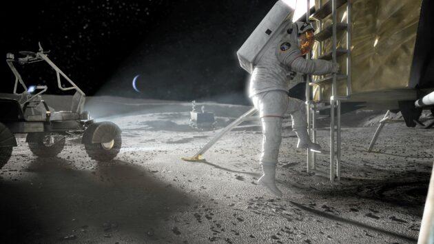Illustration: Astronaut stepping onto moon