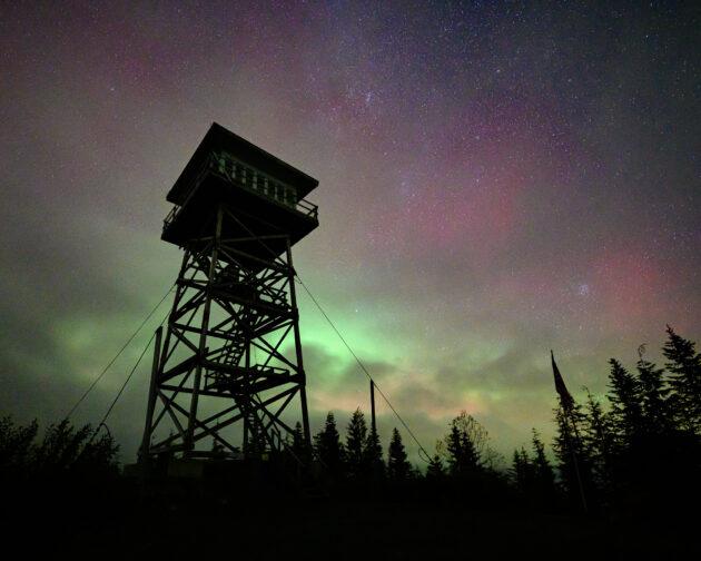 Aurora Borealis over North Mountain Lookout