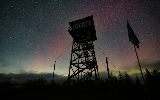 Aurora Borealis over the North Mountain Lookout